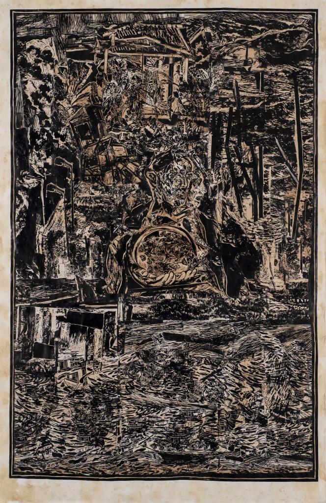 A.Cem Şahin ''Yanlış Bahçe Toplantısı''linol baskı kolaj, 230x150, 2017