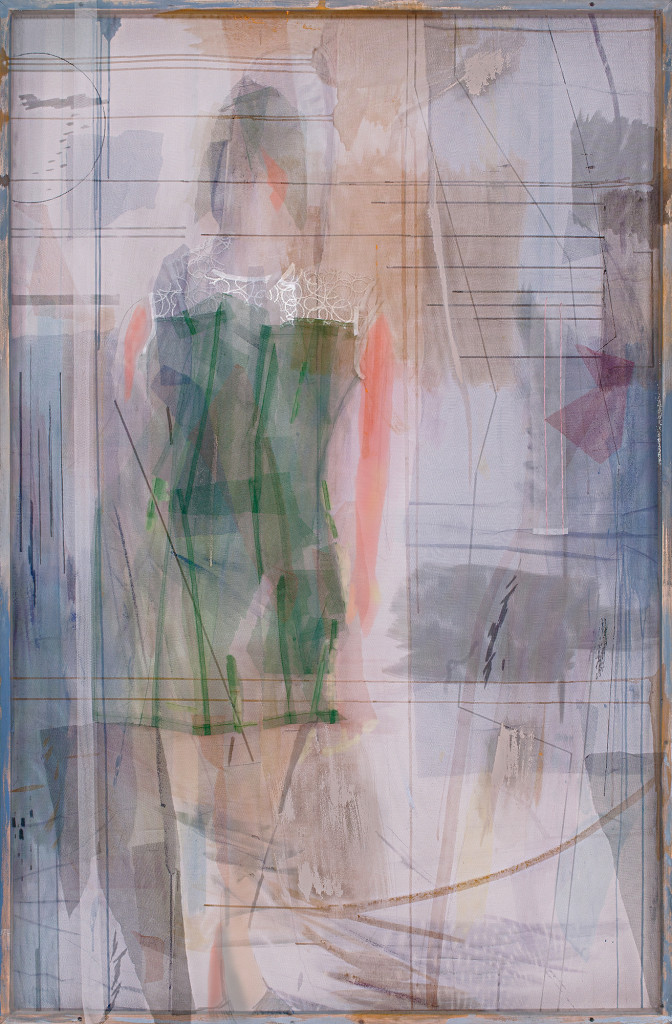 D series No.4, 2016, 190x125 cm textile materials, acrylic and layers of tulle stretched on pulley